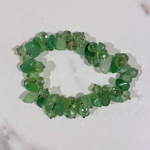 Green Chunky Stretchy Bracelet with Stones, Beads